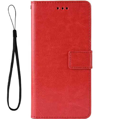 Funda para LG Stylo3/K10 Pro LS777 M400DK, color puro, con ranuras para tarjetas de crédito, DANGE suave TPU + piel sintética para teléfono móvil LG Stylus 3, color rojo