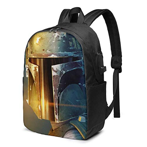 Boba Fett USB Backpack 17 in Unisex Laptop Backpack Travel,Durable Waterproof with USB Charging Port