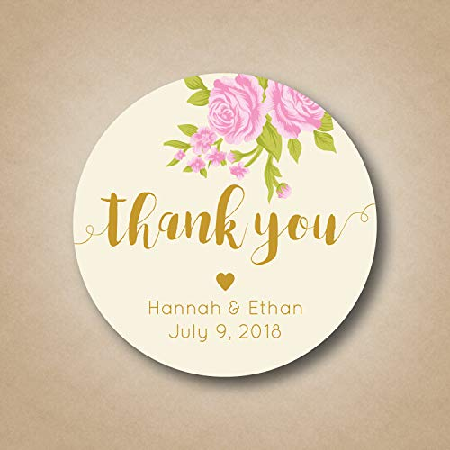 DKISEE 3 PCs Wedding Thank You Stickers Wedding Favor Stickers Blush Pink Rose Floral Labels Custom Wedding Tags Ivory Gold Wedding Favor Thank You Label 4 inches