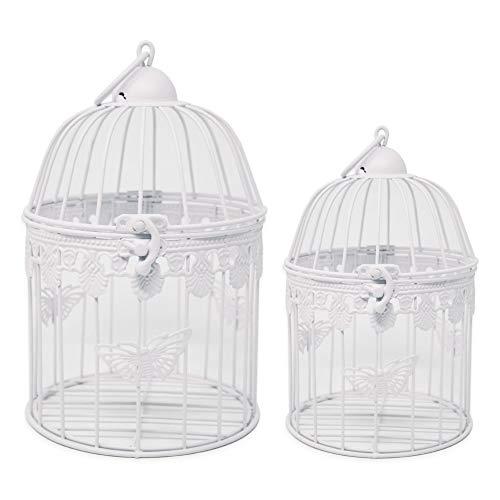 ToCi - Set di 2 gabbie per uccelli, rotonde, in metallo anticato, colore bianco, Rotondo 26/18 cm.