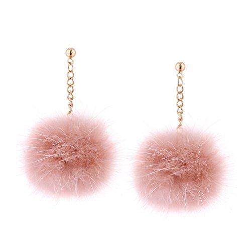 YAZILIND joyería de 18 quilates chapado en oro hermosa pompa colgante peso ligero gota cuelga aretes piercing mujeres niñas (rosa)