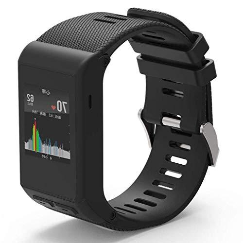 METEQI Cinturino Compatibile con Garmin Vivoactive HR, Cinturino di Ricambio in Silicone Morbido per Garmin Vivoactive HR Sports GPS Smart Watch (Nero)