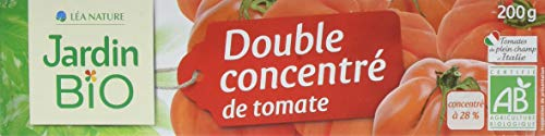 Jardin BiO étic Double concentré de Tomate sans sel ajouté - tube 200 g- Pack de 12