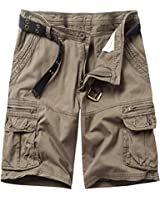 Pinkpum Men's Lightweight Multi Pocket Casual Cargo Shorts Without Belt Army Green US 31=Label 32
