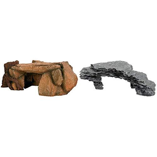 TRIXIE 8847 Felsplateau mit Baumstamm, 25 cm & 8860 Felsplateau, 19 cm