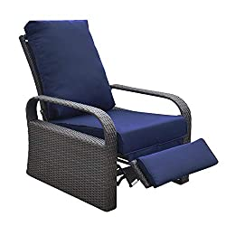 Outdoor Wicker Recliner Chair, Automatic Adjustable Rattan