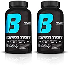 Beast Sports Super Test Maximum (2 Bottles) Ultra-Premium All-Inclusive Test Booster - Supports Your Natural Test Levels - Clinical Dosage w/KSM-66, Furostan, S7 & PrimaVie, 120 Capsules