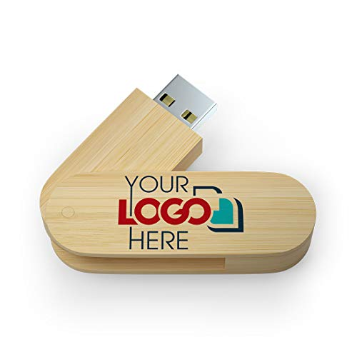 Possibox Memoria USB Personalizada 512MB Giratoria de Madera para Publicidad Pendrive con Logotipo/Texto - al por Mayor - USB 2.0 Bambú, 50 Piezas