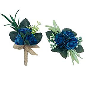 Silk Flower Arrangements Berry Blue Corsage Boutonniere Set for Prom, Wedding and Homecoming - Artificial Flower Wristlet in Shades of Blue - Silk Artificial Flowers Sets (Berry Blue)