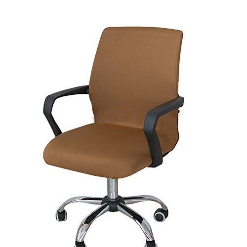 Copertura per sedia rotante in tessuto elastico, rimovibile, per sedia da ufficio, sedia da computer (solo rivestimento, senza sedie), Tessuto, Coffee, small