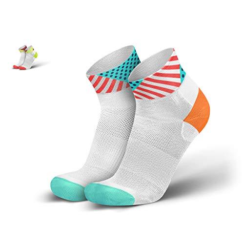 INCYLENCE Wild Sportsocken kurz, leichte Laufsocken, atmungsaktive Funktionssocken mit Anti-Blasen Schutz, Running Ankle Socks, weiß, mint, rot, 35-38