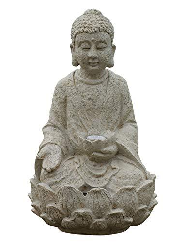 Garden Buddha ornament sitting Solar powered light up large ou