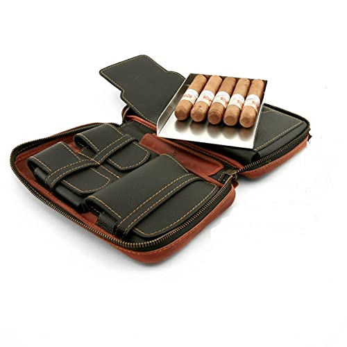 Cigar Star Frontier Aficionados Full-Grain Leather Cigar Travel Case