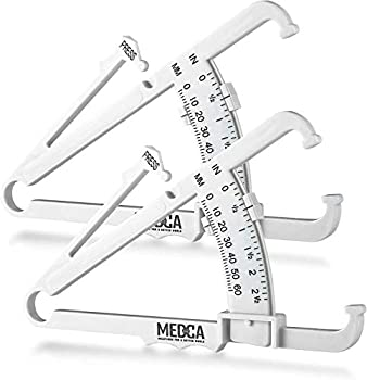 Skinfold Body Fat Caliper - Skin Fold Body Fat Analyzer and Handheld BMI Measurement Tool Skinfold Caliper Device Measures Body Fat for Men and Women by MEDca -  Pack of 2 White