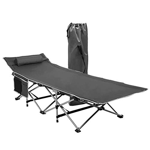Zone Tech Folding Outdoor Travel Cot - Classic Grey Premium Quality Lightweight Portable Heavy Duty Adult and Kids Travel Cot with Large Pocket-Perfect for Hiking, Camping, and Other Outdoor Activiti