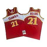 OKMJ 1986-1987 Dominique Wilkins # 21 Camiseta de Baloncesto, Atlanta Hawks Fans Retro Malla Bordada Camiseta, Red S-XXL S