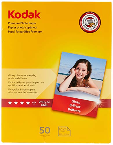"Kodak Premium Photo Paper for inkjet printers, Gloss Finish, 8.5 mil thickness, 50 Sheets, 8.5"" x 11"" (8360513),White"