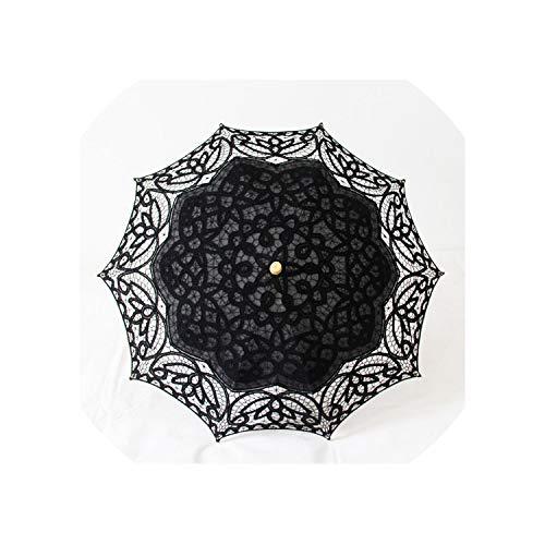 Ombrello in pizzo fatto a mano, per fotografia, danza, matrimonio, decorazione da sole, Nero (Nero) - AB-122