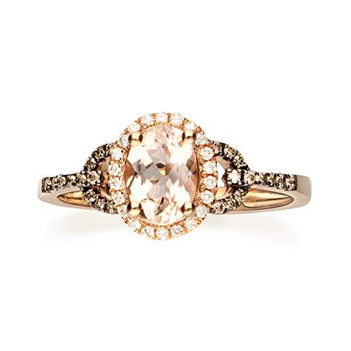 Gin & Grace Oro de 14K Rose genuino Morganita diamante (I1, I2) (tamaño 7) Proponer la promesa anillo para las mujeres