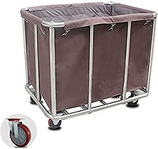Panier à linge mobile avec roulettes en acier inoxydable pour vêtements sales, capacité de 200 kg (bleu)