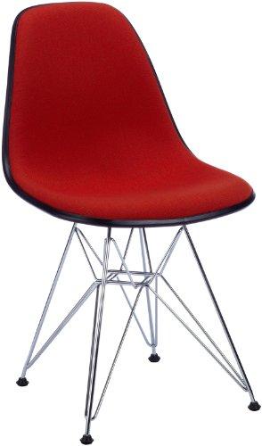 Vitra 4401520003960100 Stuhl DSR Eames Plastic Side Chair (mit Vollp.Hopsak i.rot/cogn) basic dark