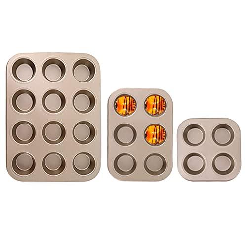 Nyphgo Backblech Antihaft für Muffins Muffinblech Set Muffin Backblech zum Kochen von Muffin/Pfannkuchen/Cupcakes/Brownies/Käsekuchen/Kekse/Makronen in der KüChe,Gold (3 Stück)