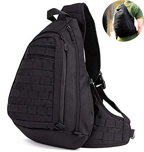 Selighting Militär Brusttasche Crossbody Bag Wasserdicht Umhängetasche Molle Slingbag Taktisch Dreieck Pack für Trekking Wandern Camping (Schwarz)
