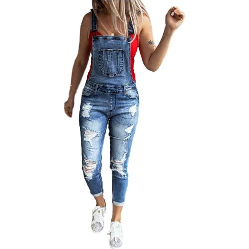 pantaloni tuta happiness donna Tuta da Donna con Bretelle Jeans Strappati con Cuciture Elastiche alla Moda Pantaloni Casual in Denim con Tasche all-Match M