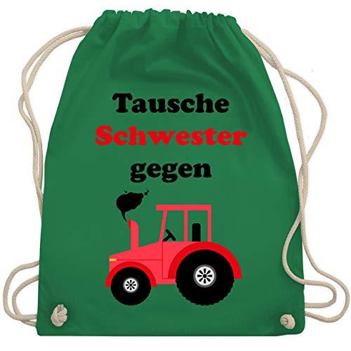 Shirtracer Fahrzeuge Kind - Tausche Schwester gegen Traktor - Unisize - Grün - turnbeutel traktor - WM110 - Turnbeutel und Stoffbeutel aus Baumwolle
