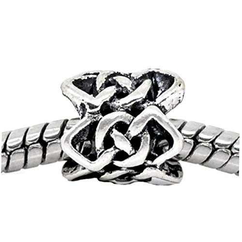 Charm Pendant Supply - Jewelry Making DIY - Bracelet Celtic Knot Braided Crochet Pattern Spacer Charm fits European Bead Bracelets