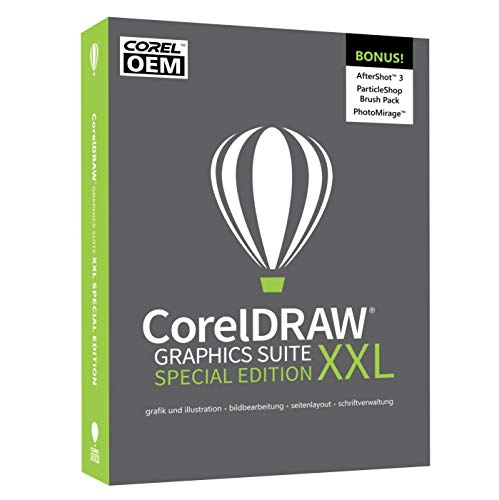COREL CorelDRAW Graphics Suite XXL Special Edition OEM in DEUTSCH mit dem SE-XXL-BONUS-Pack inkl. AfterShot 3 / BenVista PhotoZoom Pro 4 / ParticleShop BrushPack / PhotoMirage #DVD-Box
