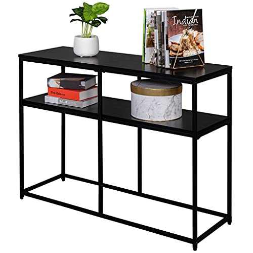 """Small Home Console Table, Black Oak Wood and Metal Sofa Table, Hallway Entry Table for Home Living Room Hotel Office, Foyer Accent Entryway Table with Storage Shelf (41 x 14"""" x 30"""")"""