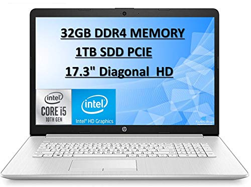 "HP 2020 Pavilion 17.3"" FHD IPS High Performance Laptop Computer, 10th Gen Intel Core i5-10210u, 32GB RAM, 1TB SSD, Intel UHD Graphics, HD Audio, HD Webcam, Win10 with E.S Holiday32GB USB Card"