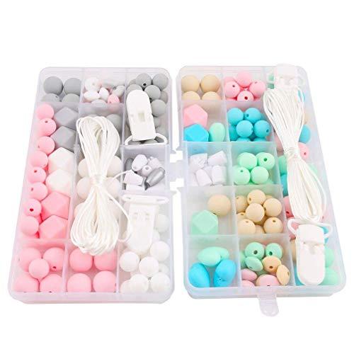 Mamimami Home Accessoires Pour bébés 2set Fait Main Clip de Sucette DIY Artisanat Collier de Soins Infirmiers Bijoux de Dentition Perles de Silicone Pour Bébés