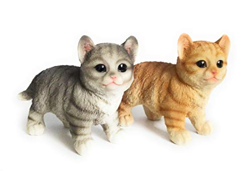 SSSS Two Realistic Standing Resin Made Baby Cat Figurine Statue | Black & Orange | Length 16.5 cm Each | Weight 220 gm Each |