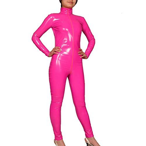 Damen Latex Lack Sexy Ganzanzug Enger Overall Cosplay Erotische Kleidung Kostüm Nachtclub-Service Weibliches Geschenk-Pink