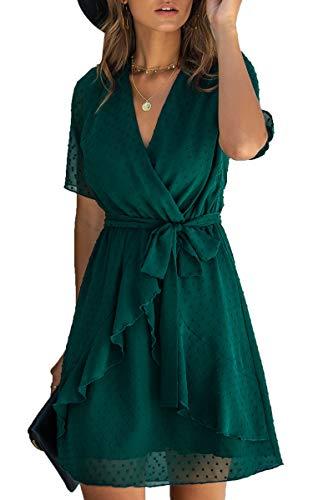 Spec4Y Damen Kleider V-Ausschnitt Vintage Kurzarm Rüschen Punkte Sommerkleid A-Linie Swing Strandkleid mit Gürtel Grün Small