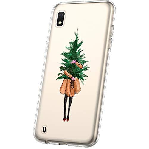 JAWSEU Compatible avec Samsung Galaxy A10 Coque Transparent Silicone,Ultra Mince Souple Cristal Clair Housse Coque Belle Neige de Noël Christmas Snowflake Motif Coque de Protection,#9