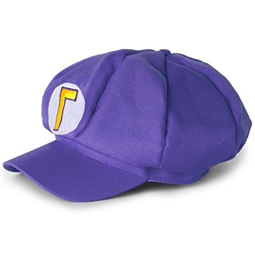 Katara Disfraz de Super Mario Bros. Carnaval, Halloween-Gorra de Waluigi, Nios/Adultos, color violeta (MLILA) , color/modelo surtido