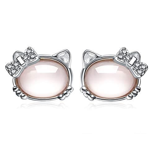 Colgante de piedra de hibisco de cristal rosa con colgante de Hello Kitty pendientes de trémella de joyería