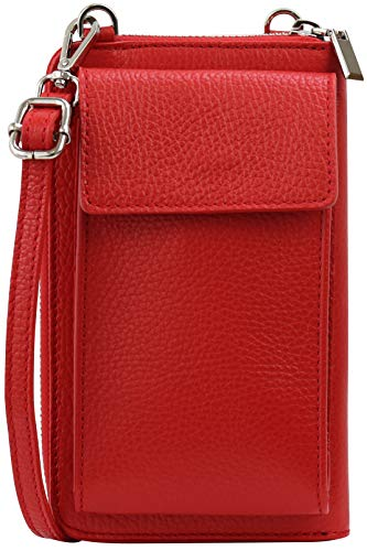 SH Leder Damen Handytasche Umhängetasche Geldbörse Multifunktion Beutel aus Echtleder Verstellbar Schultergurt Handy bis 6,5 Zoll 11,50x19cm Sarah G339 (Rot)
