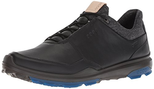 ECCO Men's Biom Hybrid 3 Gore-Tex Golf Shoe, Black/Bermuda Blue Yak Leather, 39 M EU (5-5.5 US)