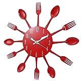 Katigan Decoraciones de Casa Silencioso Cubiertos de Acero Inoxidable Cuchillo de Relojes Y Tenedor Cuchara Reloj de Pared Restaurante de Cocina Decoración de Casa Rojo