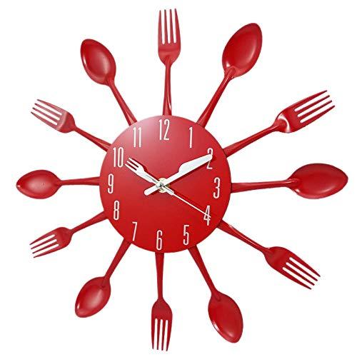 Sonline Haus Dekorationen Ger?uschlos Edelstahl Besteck Uhren Messer und Gabel L?ffel Wanduhr Küche Restaurant Haus Dekor Rot