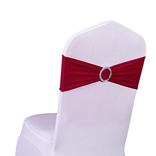 SINSSOWL 100 fundas elásticas de licra para sillas para bodas, fiestas, proveedores, decoraciones de sillas, color burdeos