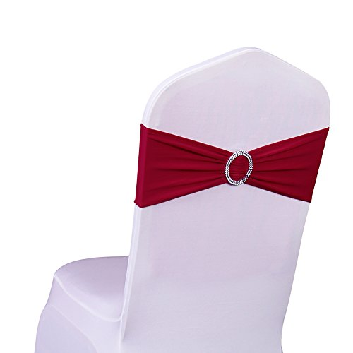 Cintas elásticas de licra para sillas SINSSOWL, 100 unidades, para bodas, fiestas, decoración de sillas (sin funda para silla)