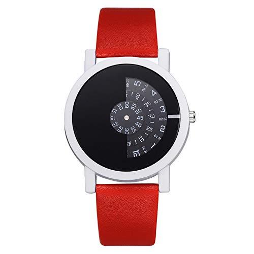 SBYQDH Kreatives Design Armbanduhr Kamera Konzept Kurze Einfache Spezielle Digitale Discs Hände Mode Quarzuhren Für Männer FrauenRot
