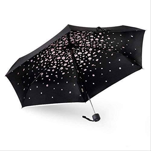 NJSDDB paraplu Nieuwe Kersen kleine 5Vouwende Paraplu Leuke Mini Compact Licht gewicht Travel Paraplu Regen vrouwen menanti-UV parasol voor kinderen vrouwelijke, Zwart
