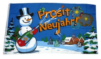 Fahne / Flagge Prosit Neujahr Silvester NEU 90 x 150 cm
