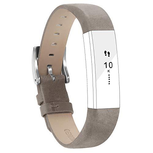 Goosehill Für Fitbit Alta Armband and Alta HR Armband, Echt Leder Uhrenarmband Lederarmband Erstatzband Sport Armband für Fitbit Alta und Alta HR Unisex Fitness Armband